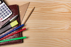 Brown notebook and stationery Stock Photo