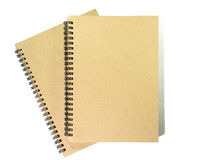 Brown notebooks on white background. Top view Stock Image