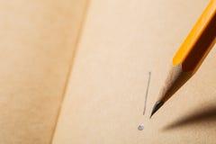 Brown-Notizbuch, Draufsicht Hölzernes Bleistiftschreiben auf tne braunem Papier Stockbilder