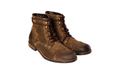 Brown nubuck man's boots isolated Royalty Free Stock Photo