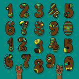 Brown Numbers with Bright Decor stock photo