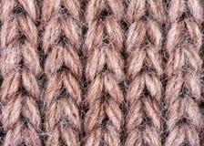 Brown wełny dziewiarska tekstura Fotografia Stock