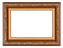 Brown obrazka rama z wzorem odizolowywającym na bielu zdjęcia stock