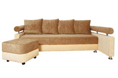 Brown och beige sofa som isoleras på white Royaltyfri Foto