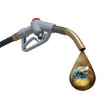 Brown oil drop withing earth inside, weeping from Stock Images