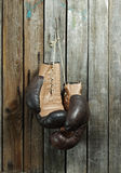 Brown old boxing gloves wooden wall Royalty Free Stock Image