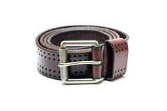 Brown Old Leather Belt. Isolate on white background royalty free stock image