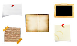 Brown old paper note background. Collection of old note paper  on white background. each one is in full cameras resolution Royalty Free Stock Image