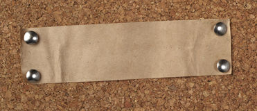 Brown old paper note background cork board Stock Images
