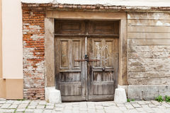Brown old rustic withered wooden doors stock images