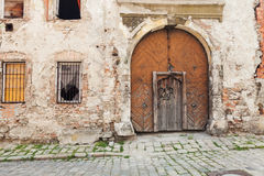 Brown old rustic withered wooden doors stock photo