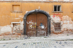 Brown old rustic withered wooden doors royalty free stock photo