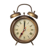 Brown old style alarm clock isolated on white Royalty Free Stock Photo