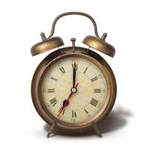 Brown old style alarm clock with shadow isolated on white Stock Images