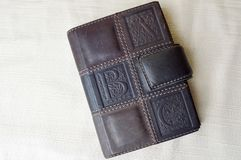 Brown, old, vintage, retro, leather notebook Royalty Free Stock Photography