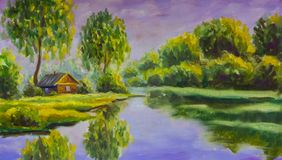 Wooden house on bank lake landscape painting. A brown old wooden house on the bank of a lake water lake is a rustic landscape. Rural summer landscape. Original royalty free stock image
