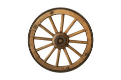 Brown old wooden wheel. Isolated on white background Royalty Free Stock Photography