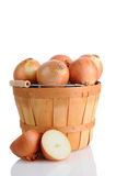 Brown onions in Basket Stock Photography