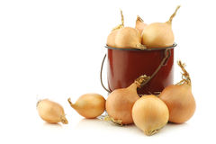 Brown onions in an vintage enamel cooking pot Stock Photos
