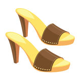 Brown open-back shoes with metallic decoration. Vector illustration of brown open-back shoes with metallic decoration isolated on white background. Summer shoes Royalty Free Stock Photo