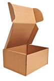 Brown open carton box. Brown open carton box isolated over white background Royalty Free Stock Photography