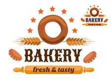 Brown and orange bakery emblem Stock Images