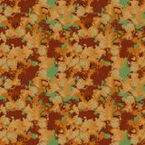 Brown and orange camouflage is a seamless pattern with spots and cracks on green background. Can be used for clothes in military style, army equipment, backdrop royalty free illustration
