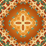 Brown and orange color seamles arabian print Stock Photos