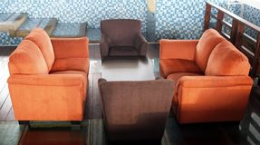 Brown and Orange Couches Royalty Free Stock Photography