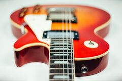 Brown and Orange Electric Guitar Stock Photo