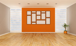 Brown and orange living room Royalty Free Stock Images