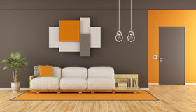 Brown and orange modern living room Royalty Free Stock Photos