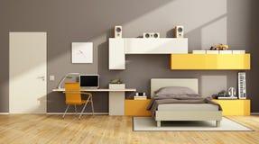 Brown and orange teenage boy bedroom Royalty Free Stock Images