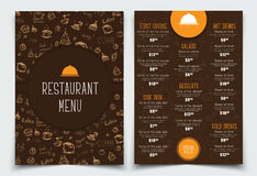 Brown and orange Template with drawings of hands and logo. Royalty Free Stock Image