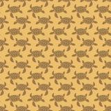 Brown on orange turtle geometric pattern seamless repeat background Stock Photos