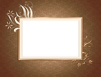 Brown Ornamental Card. A Flamboyant card bordered with ornate shapes and lighting Royalty Free Stock Photo