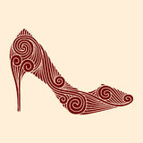 Brown ornamental shoe Royalty Free Stock Images