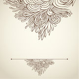 Brown outline floral on light 02. Hand drawn ornate brown outline floral on light background Royalty Free Stock Photo