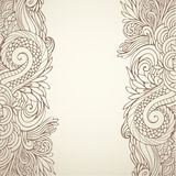 Brown outline floral on light 01. Hand drawn ornate brown outline floral on light background Royalty Free Stock Image