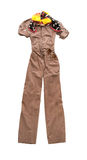 Brown overall fashion composition. On white background Royalty Free Stock Image