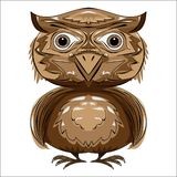 Brown owl front view stock photo