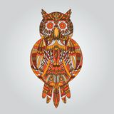 Brown owl in ornamental style for design Royalty Free Stock Photography