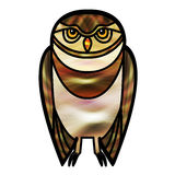 Brown Owl in Stained Glass Style Stock Image