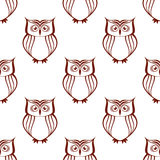Brown owls silhouette seamless pattern Royalty Free Stock Images