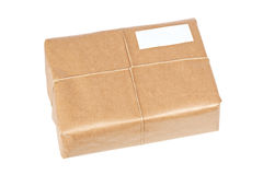 Brown package with blank label Stock Image