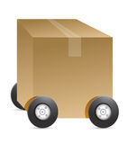 Brown package car figure. Illustration on white background Royalty Free Stock Photo