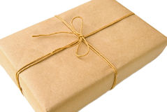 Brown Package/Parcel with Twine Stock Image