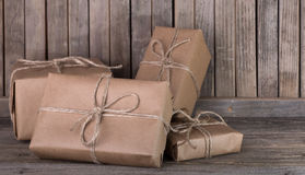 Brown Packages on a Deck Stock Photography