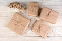 Brown Packages With Stars Stock Photos