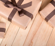 Brown Packages on a Wood Surface Royalty Free Stock Photo